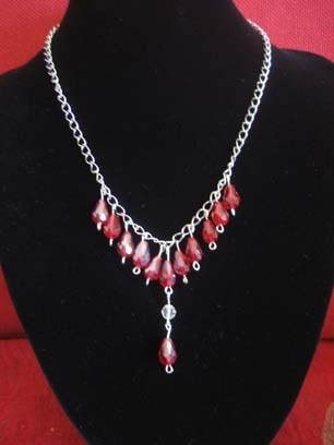 Red Crystal Drop Necklace