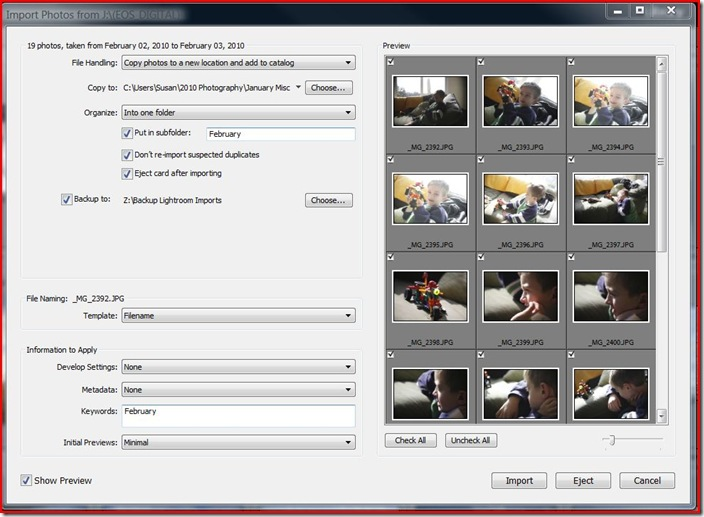 lr - importing photos