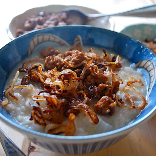 Gingery Congee with Pork and Crispy Shallots