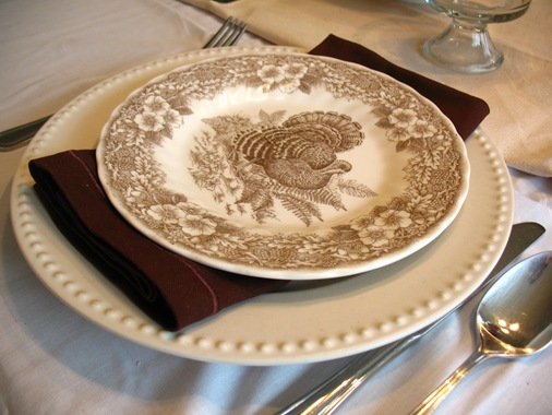 brown white turkey plates