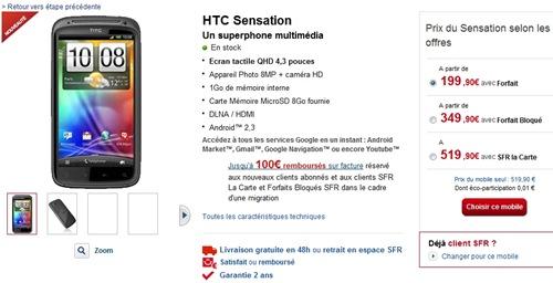 HTC Sensation en stock SFR