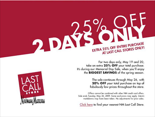 Neiman Marcus Last Call Memorial Day Sale: 25% off 5/19-20! featured on Shopalicious.com