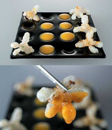 flor de mandarino en tempura