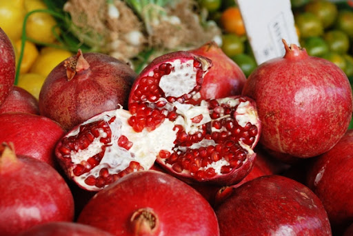 pomegranate at outdoor market