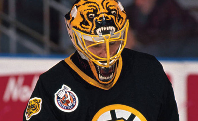 Andy Moog with his Bruins goalie mask