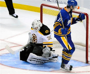 Sabres Drew Stafford scores on Tim Thomas in the shootout