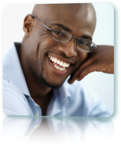 Close up shot of an African-American man smiling.