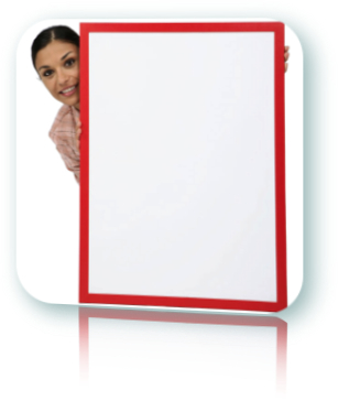 Woman peeking behind a blank white board.