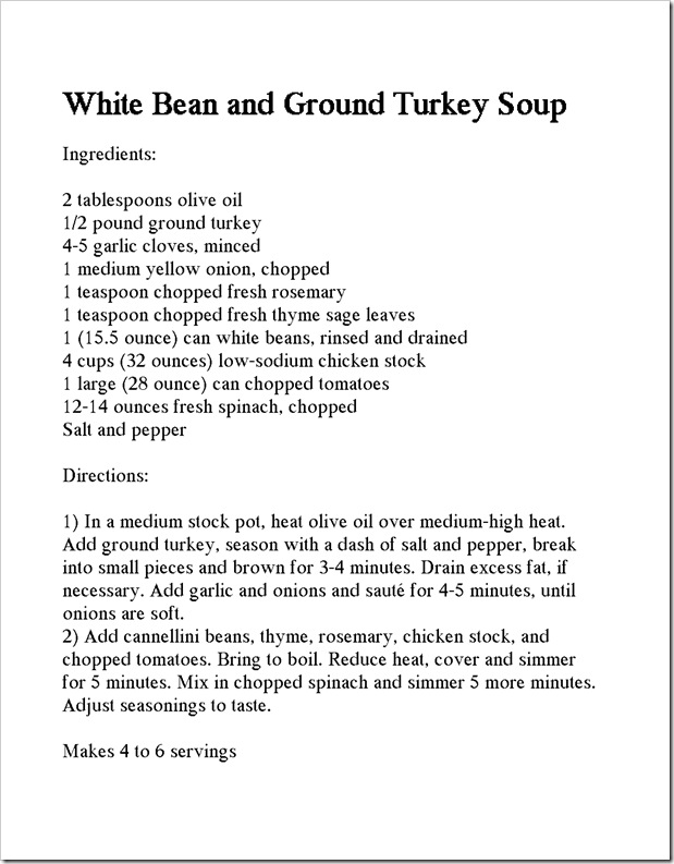 white bean and turkey soup recipe