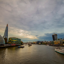 River Thames & London Skyline by Salman Shaikh - City,  Street & Park  Street Scenes ( london bridge, london night, london shard, city evening, tower brid, cruise, river thames )