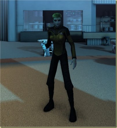 No, she's not a dwarf.  There's just something appealing about tall, leggy green-skinned female aliens.