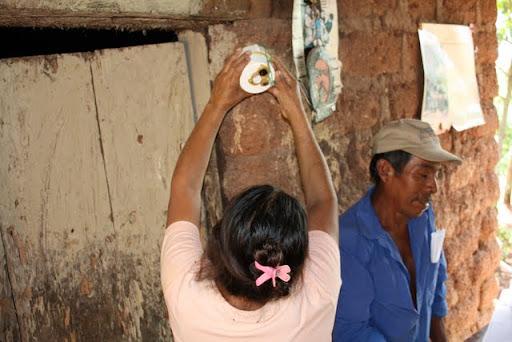 Demonstrating solar lamp position.