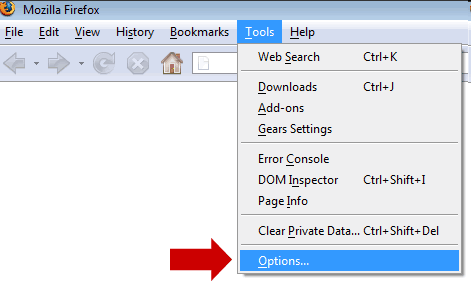 Tools and Options in firefox