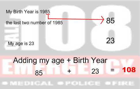 Example of age and year calculation for emergency number 108 to come