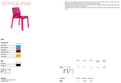 Technicla data sheet for Frilly chair
