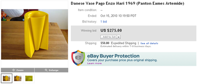 Final bid screenshot, yellow Pago Pago vase (original)