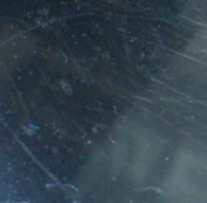 Close up of scratches in Ero|S| aluminum tulip swivel base
