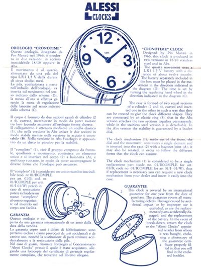 Cronotime clock information sheet (front)