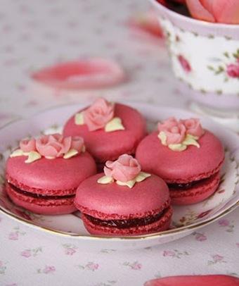 Macarons Frambuesa y rosas