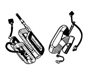 Typical field coils and brushes (Lucas).