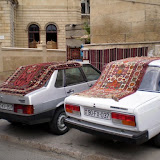 Carpet overload. They're everywhere. On the floors, on the walls, on top of cars...!