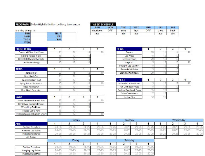 printable weekly logs for m s routines muscle strength forums. Black Bedroom Furniture Sets. Home Design Ideas