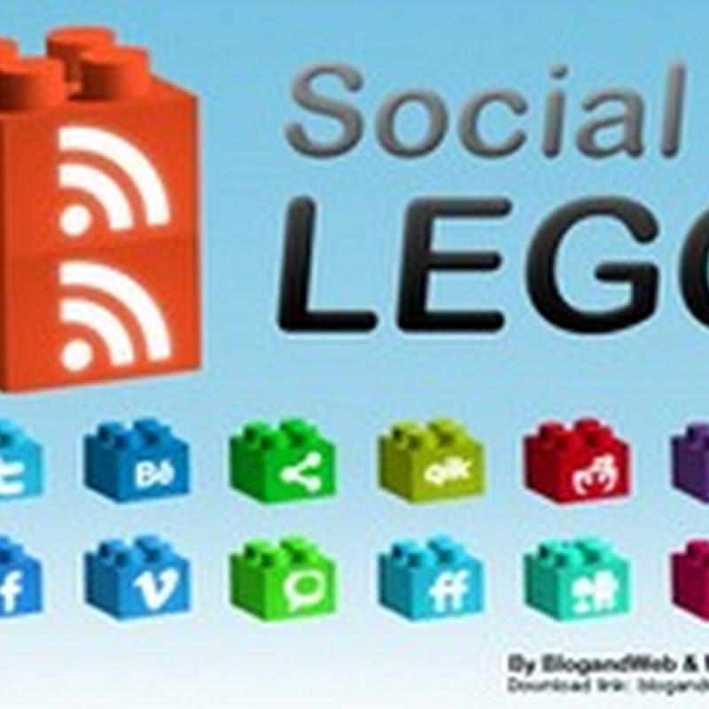 Íconos sociales en forma de Lego