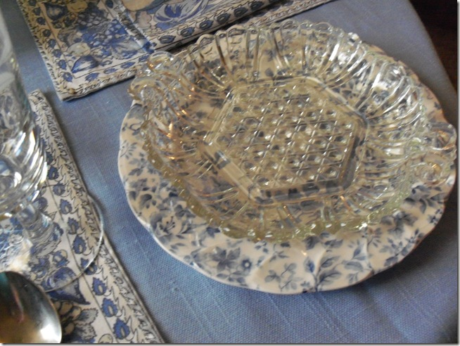 Blue chintz table with food 019