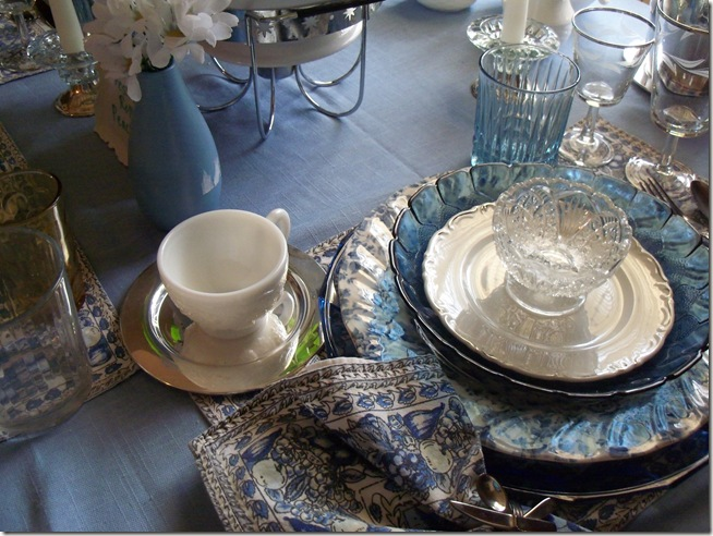 Blue chintz table with food 022