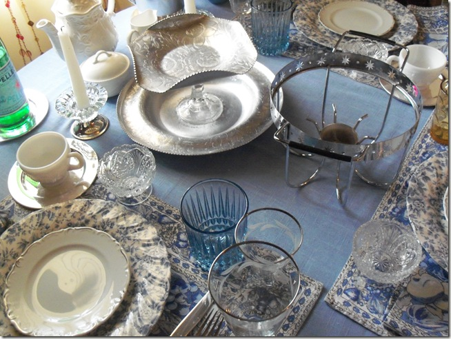 Blue chintz table with food 029