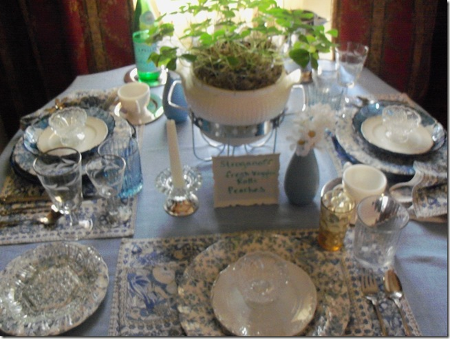 Blue chintz table with food 014