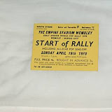 Borrowed from an eBay listing, a ticket from the start of the rally - 4 shillings on the day or 3 shillings in advance. Bargain!