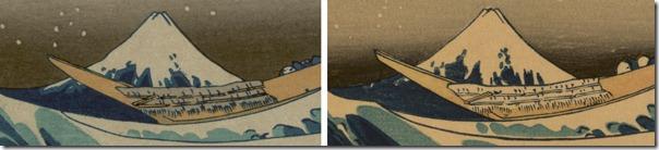 """Японские гравюры, отпечатанные в разное время отличаются не только цветовой гаммой, но и деталями (на примере работы Кацусики Хокусая """"Большая волна в Канагаве"""")."""