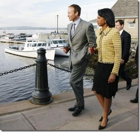 Canadian (Conservative) Defence Minister Peter MacKay on a Tim Hortons coffee break with US (Republican) Secretary of State Condoleezza Rice, Pictou, Nova Scotia, 2006