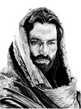 Jesus (as portrayed by Jim Caviezel) - pencil drawing by K Hinson