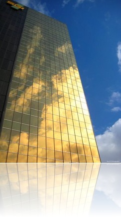 SGI Building in Regina, Saskatchewan reflecting the sunlight