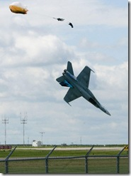 Capt Brian Bews ejects from his CF-18 just moments before it crashes. Practice in Lethbridge for 2010 Alberta International Air Show.