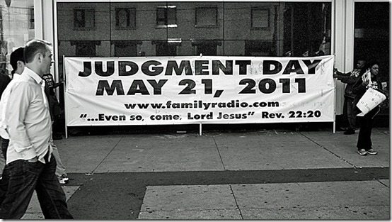 A Judgement Day banner rolled out at Toronto's Eaton Centre this week