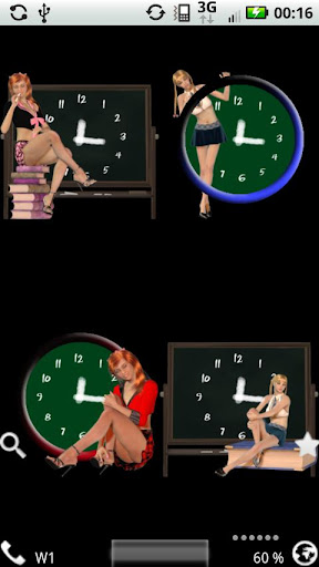 School Girl Clocks Widget