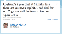 Twitter : Jim Matheson: Cogliano's 1 year deal at ..._1284156327555.png