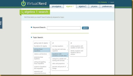 Virtual Nerd search screen