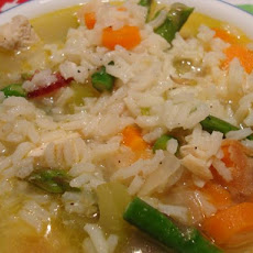Chicken Soup With Asparagus and Rice