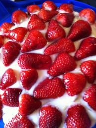 Erdbeerkuchen mit Vanillepudding