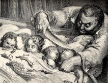 Ogro de Pulgarcito apunto de degollar a sus hijas (Gustave Doré)