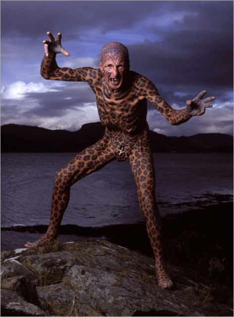 Guinness World Recordô - Most tattooed man.  Tom Leppard, from the Isle of Skye, Scotland, has 99.9 % of his body tattooed with a leopard-skin design.  The only parts of his body that remain free of tattoos are the insides of his ears and the skin between his toes.Picture:  Drew Gardner/Guinness World Recordsô(Tel +44 1536 790166/ +44 7860 288624)