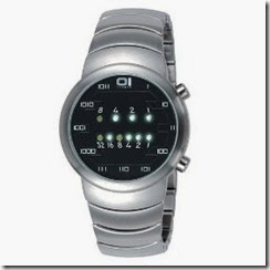 Binary White Sumui Moon Watch SM102W2 with LED Binary Format Display Solid Stainless Steel