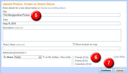 create new album in picasa, bloggerhelper