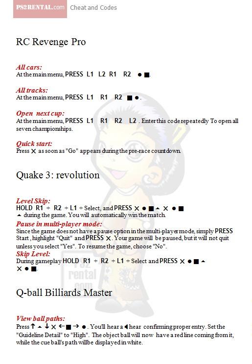 Playstation 2 Cheat Code Center: Quake 3 revolution