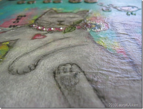 "copyright2010LauraKAiken ""Art for Paws""  12 x 12 Acrylic mixed media on canvas  Prints available"
