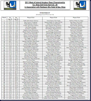2011 West Of Ireland Amateur Open Championship Draw and Timesheet
